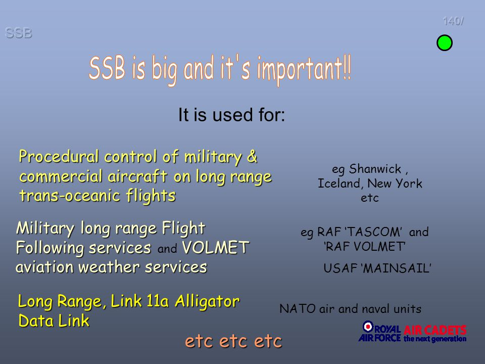 It is used for: Procedural control of military & commercial aircraft on long range trans-oceanic flights Military long range Flight Following services