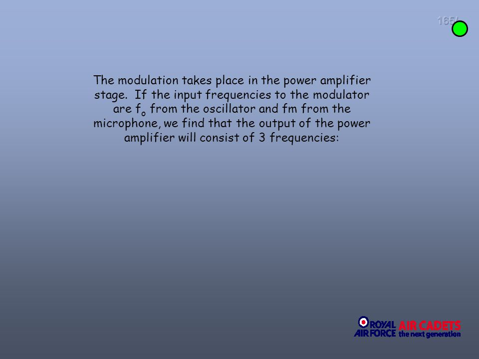 165/ The modulation takes place in the power amplifier stage. If the input frequencies to the modulator are f o from the oscillator and fm from the mi