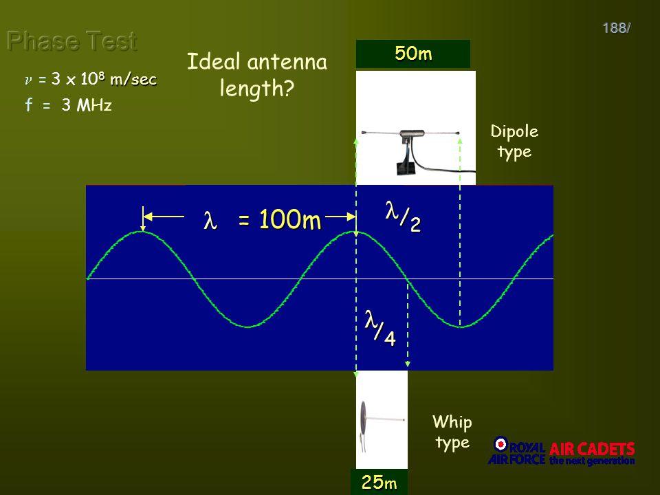 188/ f 8 3 x 10 8 6 3 x 10 6 2 1 f = 3 MHz 8 m/sec 3 x 10 8 m/sec = = 100m Ideal antenna length? /4/4/4/4 /2/2/2/2 Dipole type Whip type 50m 25 m