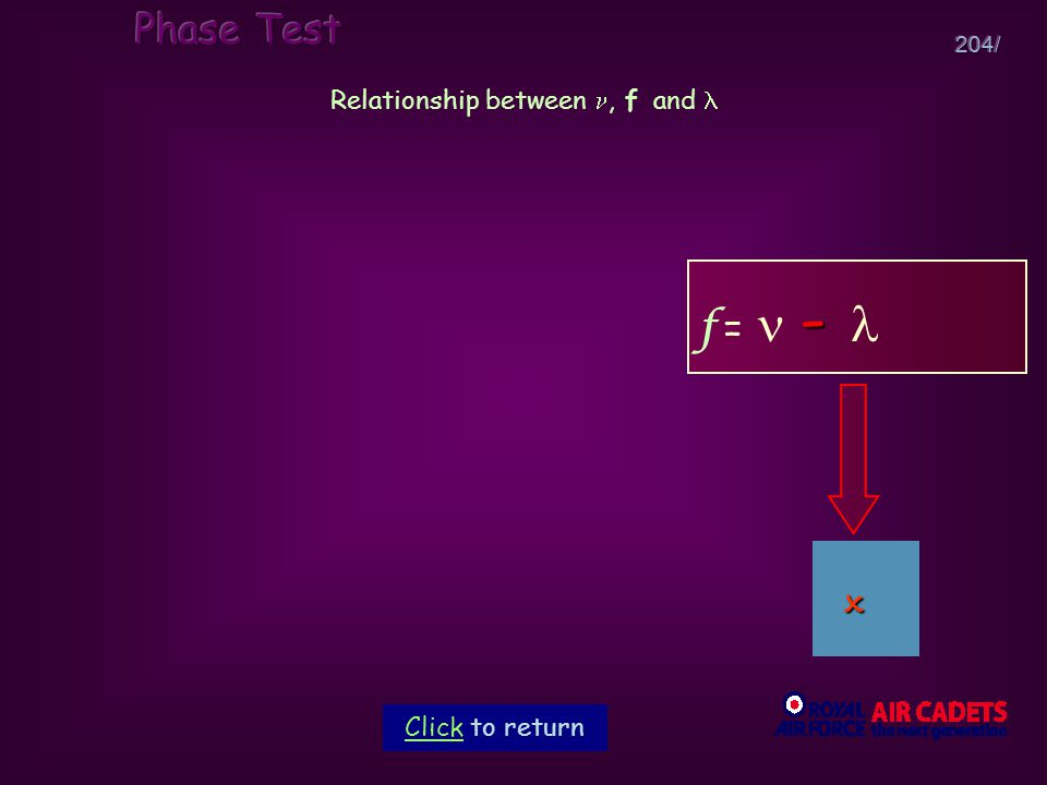 204/ Relationship between, f and - f = - Click to return