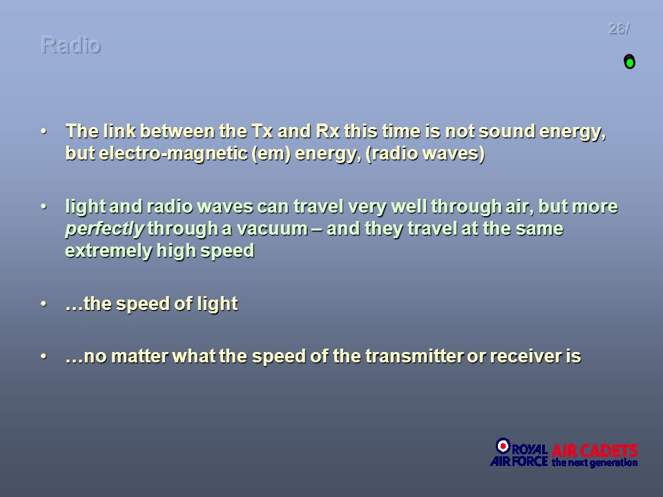 The link between the Tx and Rx this time is not sound energy, but electro-magnetic (em) energy, (radio waves)The link between the Tx and Rx this time