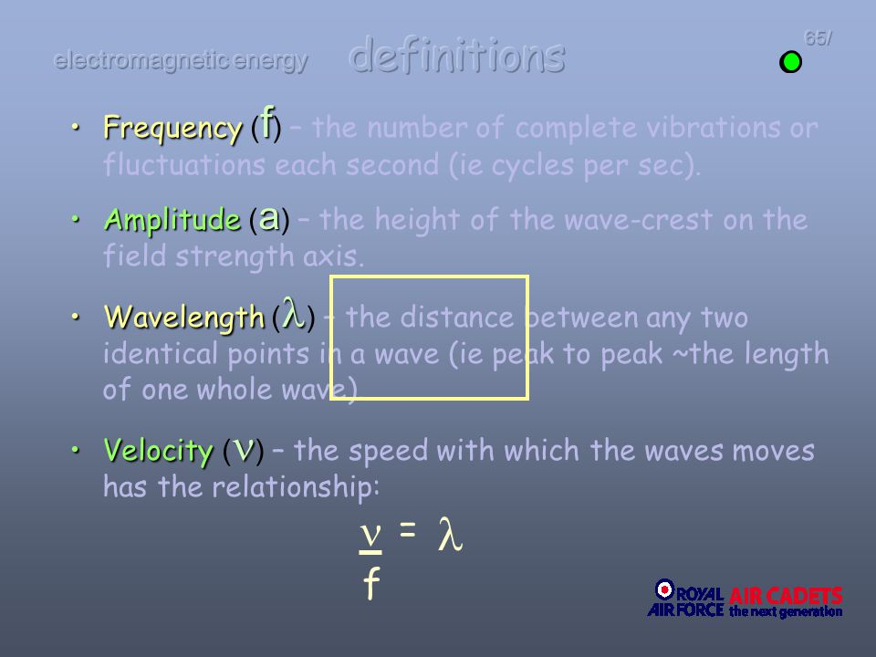 Frequency fFrequency ( f ) – the number of complete vibrations or fluctuations each second (ie cycles per sec). Amplitude aAmplitude ( a ) – the heigh