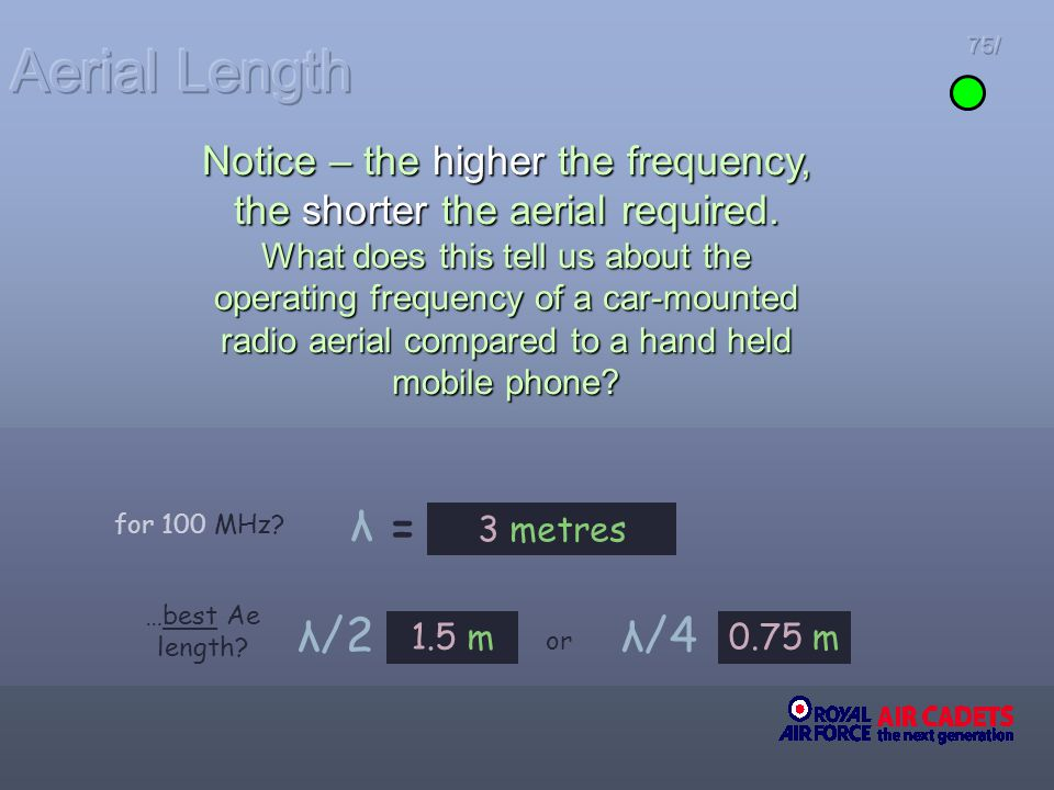 75/ 3 metres = …best Ae length? λ/2λ/4 1.5 m0.75 m or λ Notice – the higher the frequency, the shorter the aerial required. What does this tell us abo