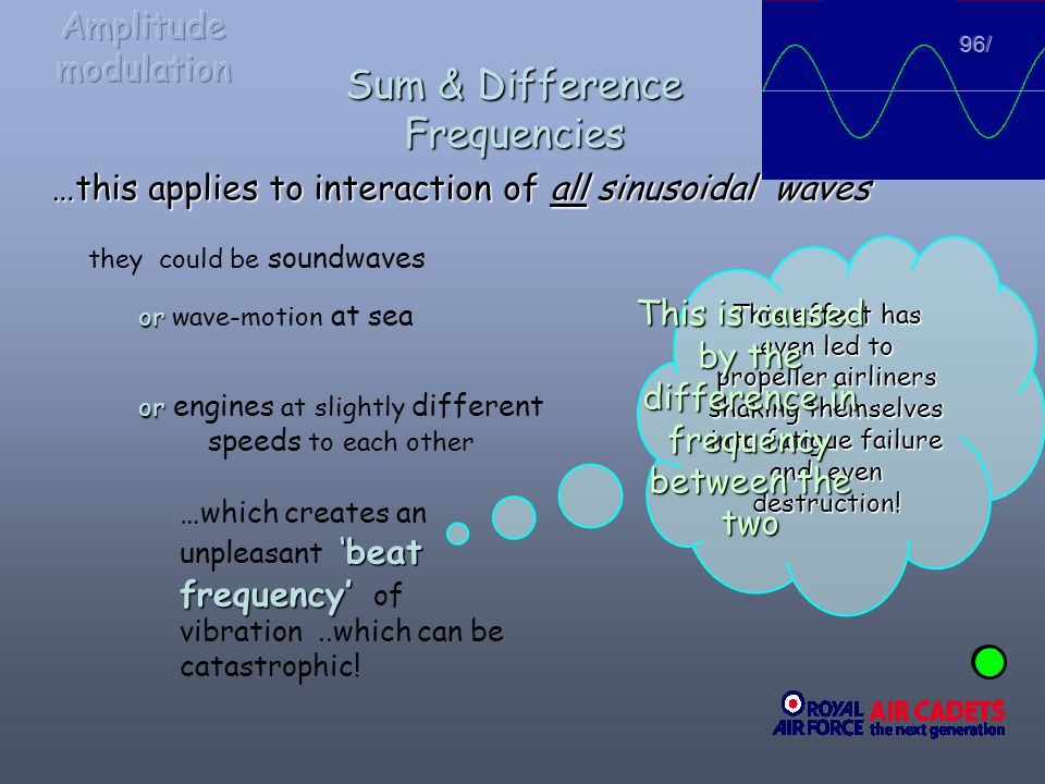 …this applies to interaction of all sinusoidal waves they could be soundwaves or or wave-motion at sea or or engines at slightly different speeds to e