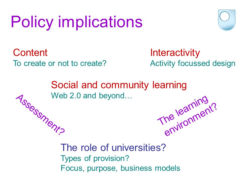 Policy implications Content To create or not to create? Interactivity Activity focussed design Social and community learning Web 2.0 and beyond… Asses