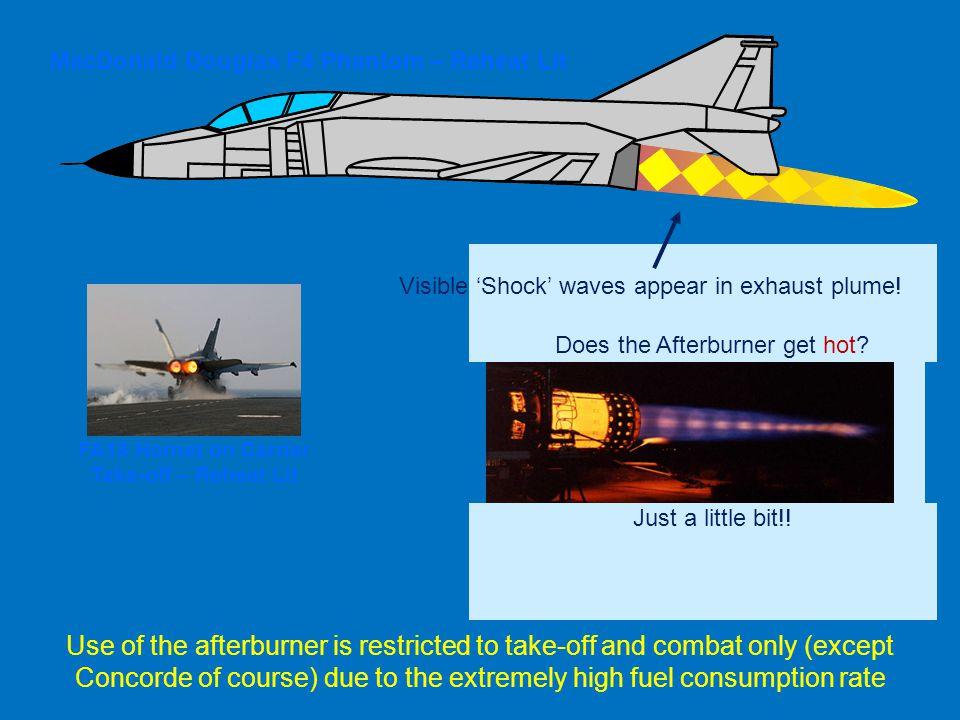 Just a little bit!! MacDonald Douglas F4 Phantom – Reheat Lit Visible Shock waves appear in exhaust plume! FA18 Hornet on Carrier Take-off – Reheat Li