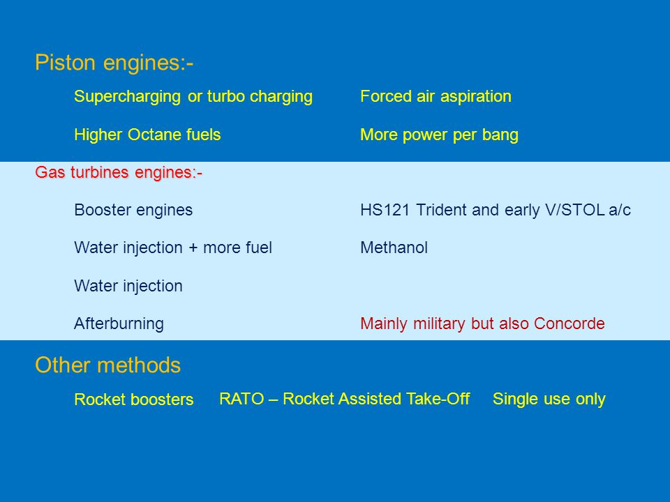 Piston engines:- Supercharging or turbo chargingForced air aspiration Higher Octane fuelsMore power per bang Gas turbines engines:- Rocket boosters RA