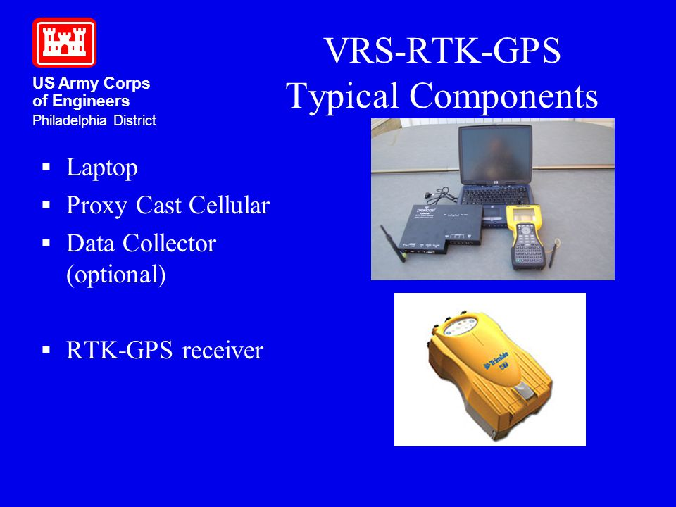 US Army Corps of Engineers Philadelphia District VRS-RTK-GPS Typical Components Laptop Proxy Cast Cellular Data Collector (optional) RTK-GPS receiver