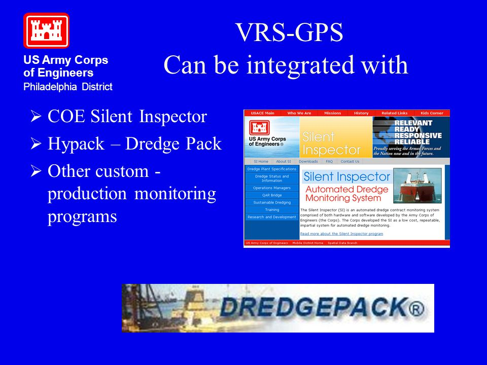 US Army Corps of Engineers Philadelphia District VRS-GPS Can be integrated with COE Silent Inspector Hypack – Dredge Pack Other custom - production mo