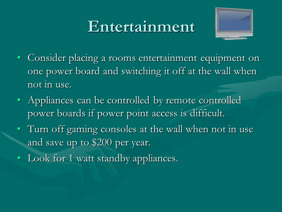 Sample Entertainment Equipment Standby Costs Appliance Standby Watts Year Standby Cost @ $0.16/kWh Potential Savings if off at wall when not in use DVD Player20$27.19$27 Wii2$2.72$3 Xbox 360140$190.31$190 PS3190$258.28$258 TV poor20$27.19$27 TV best1$1.36$1 To work out your exact savings for your appliances see Appliance Energy CalculatorAppliance Energy Calculator