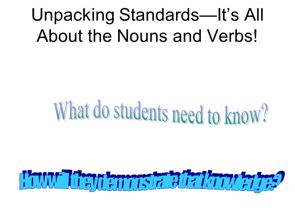 Unpacking StandardsIts All About the Nouns and Verbs!
