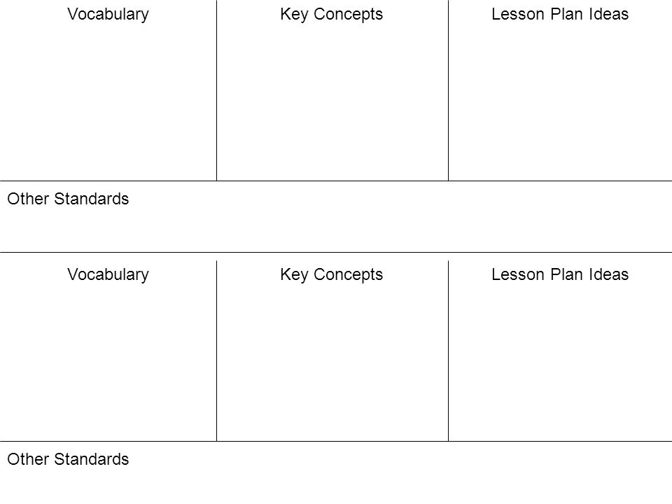 VocabularyKey ConceptsLesson Plan Ideas Other Standards VocabularyKey ConceptsLesson Plan Ideas Other Standards