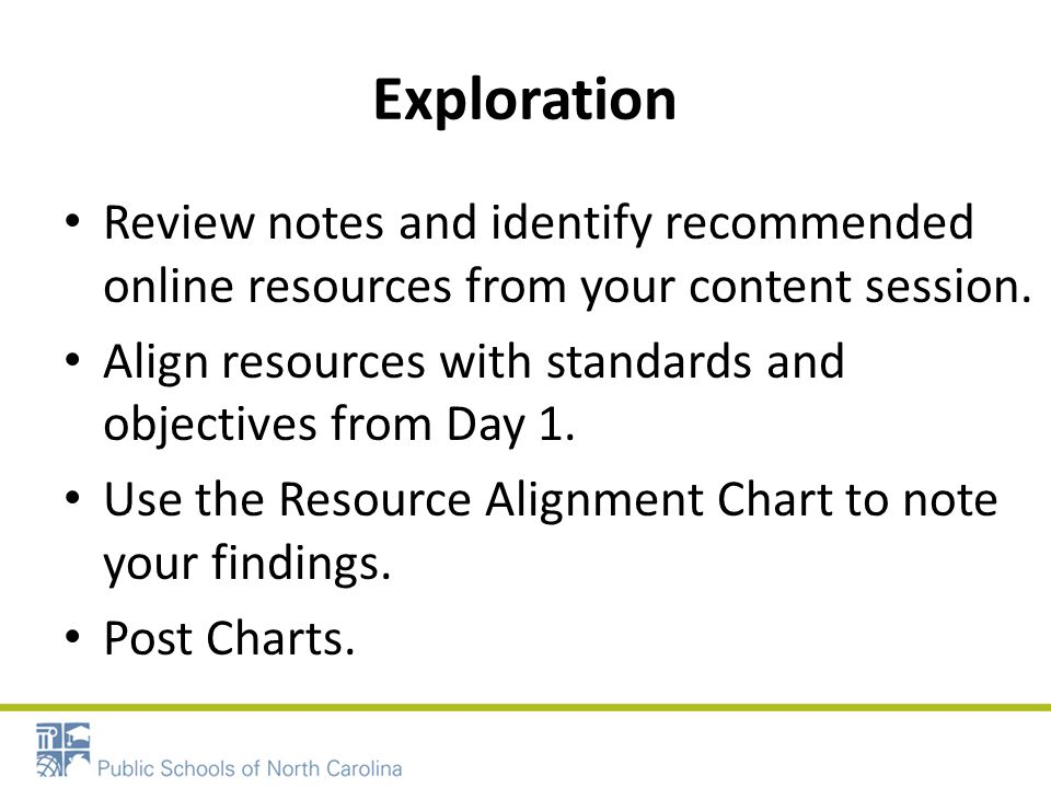Exploration Review notes and identify recommended online resources from your content session.