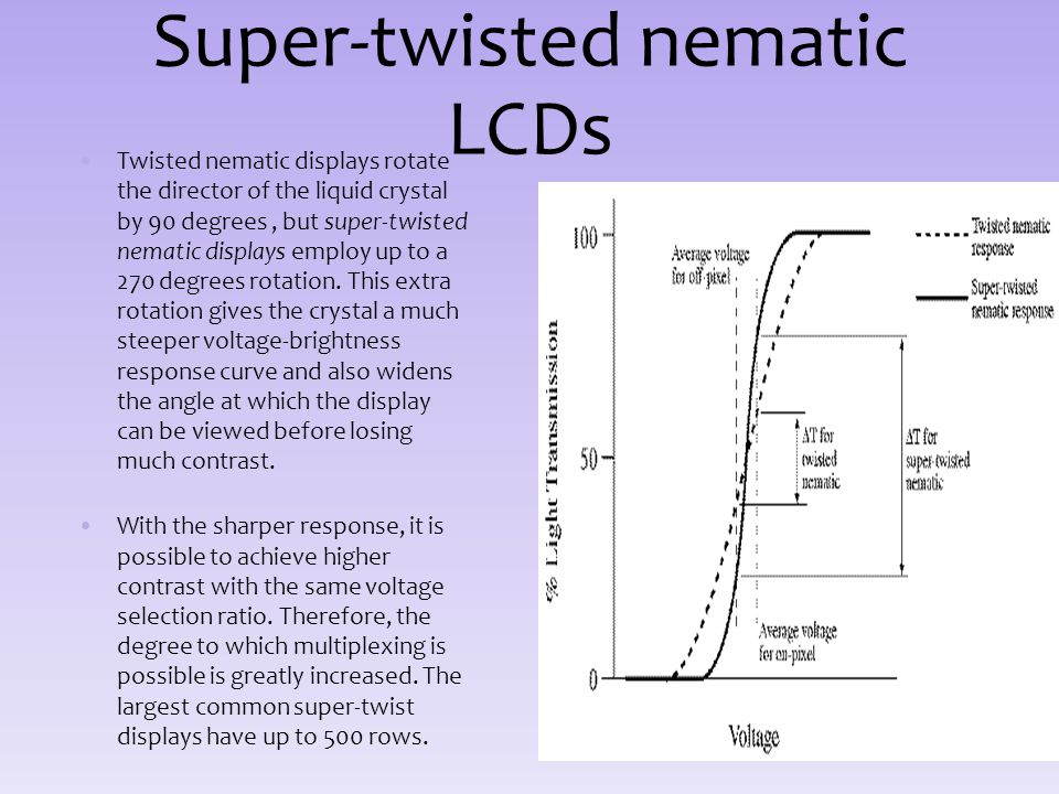Super-twisted nematic LCDs Twisted nematic displays rotate the director of the liquid crystal by 90 degrees, but super-twisted nematic displays employ