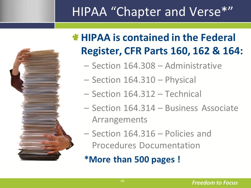 10 HIPAA Chapter and Verse* HIPAA is contained in the Federal Register, CFR Parts 160, 162 & 164: –Section 164.308 – Administrative –Section 164.310 – Physical –Section 164.312 – Technical –Section 164.314 – Business Associate Arrangements –Section 164.316 – Policies and Procedures Documentation *More than 500 pages !