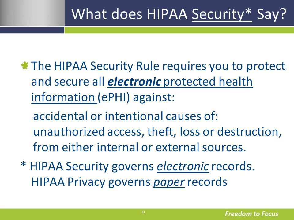 11 What does HIPAA Security* Say.