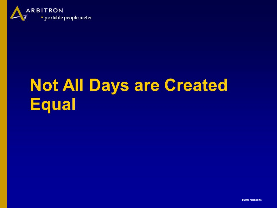 © 2003 Arbitron Inc. portable people meter Not All Days are Created Equal