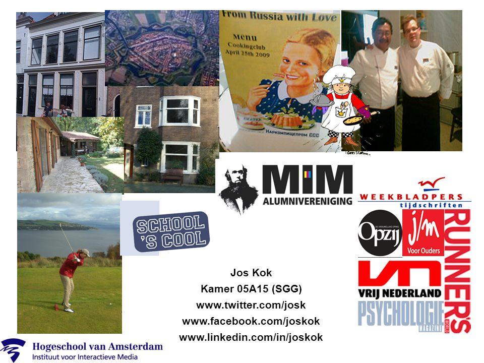 Jos Kok Kamer 05A15 (SGG) www.twitter.com/josk www.facebook.com/joskok www.linkedin.com/in/joskok