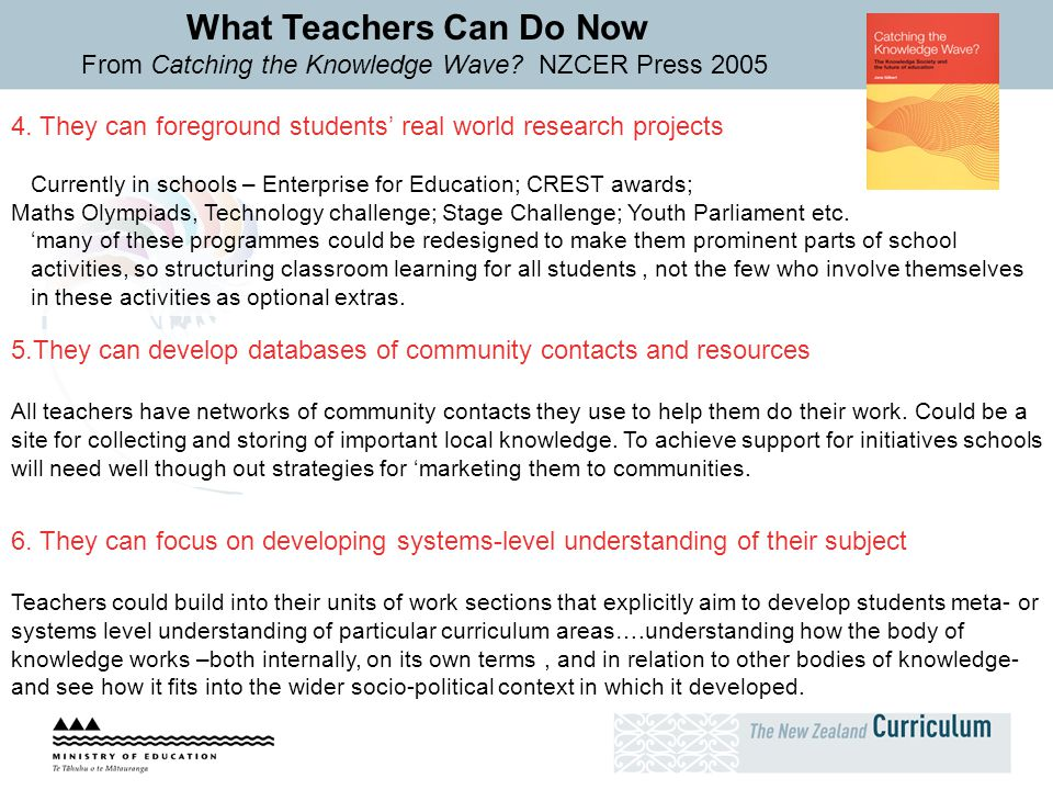 What Teachers Can Do Now From Catching the Knowledge Wave? NZCER Press 2005 5.They can develop databases of community contacts and resources All teach