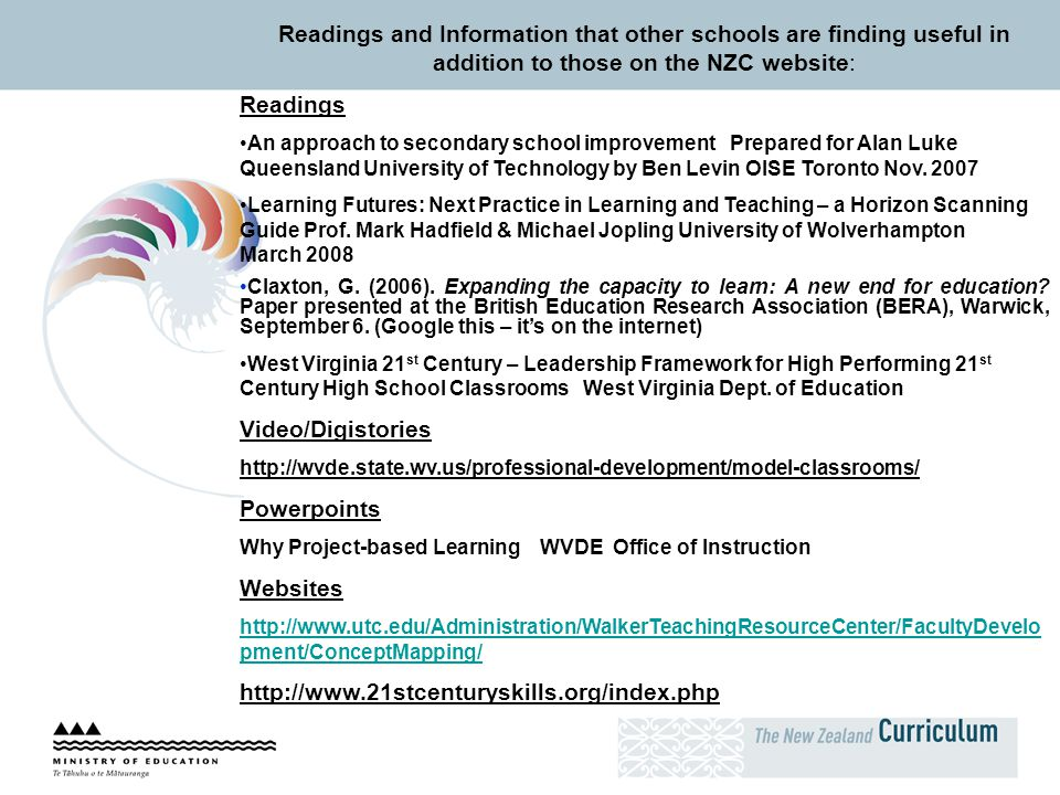 Readings and Information that other schools are finding useful in addition to those on the NZC website: Readings An approach to secondary school impro