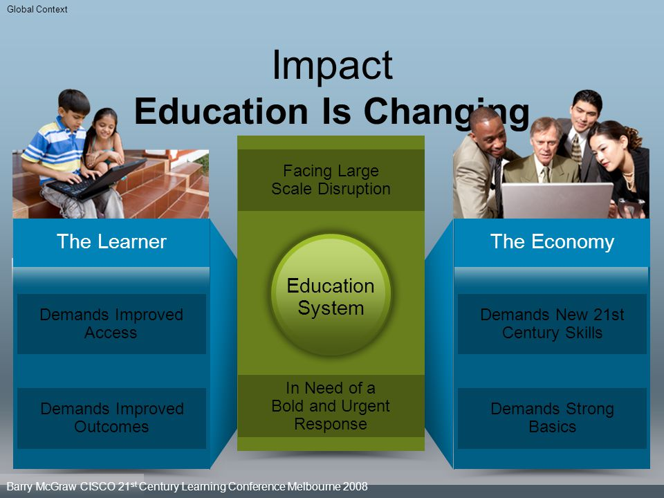 Impact Education Is Changing The Learner Demands Improved Access Demands Improved Outcomes The Economy Demands New 21st Century Skills Demands Strong
