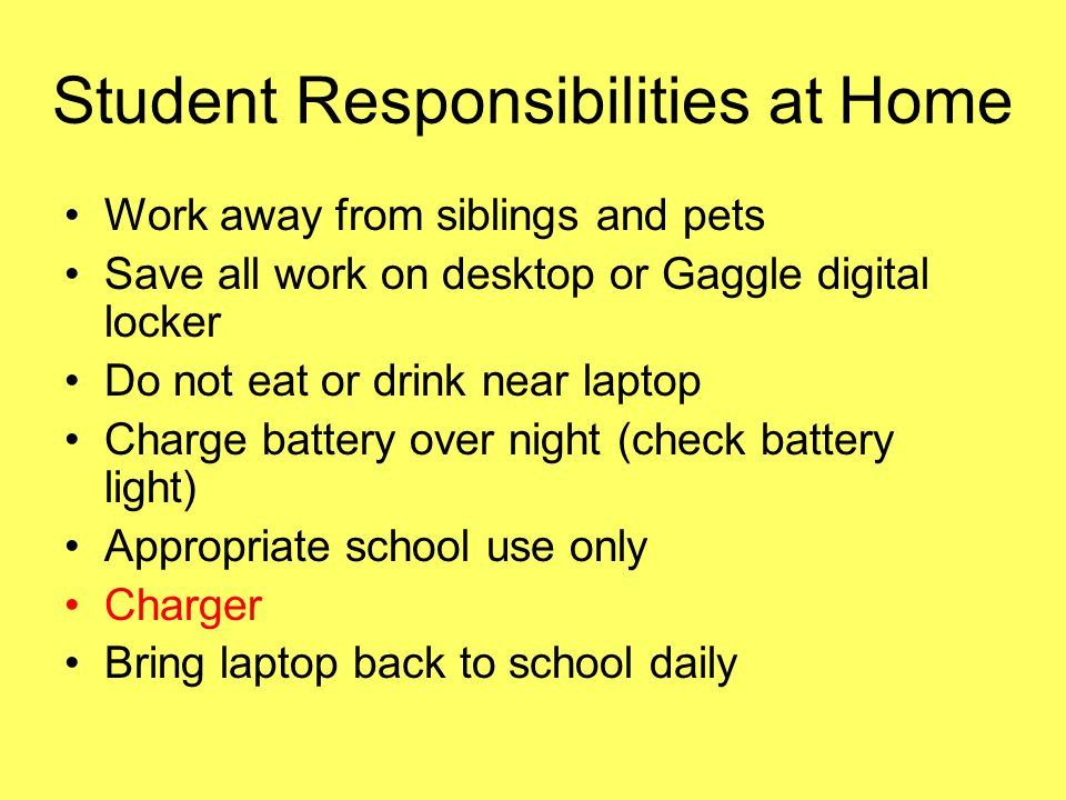 Student Responsibilities at Home Work away from siblings and pets Save all work on desktop or Gaggle digital locker Do not eat or drink near laptop Ch