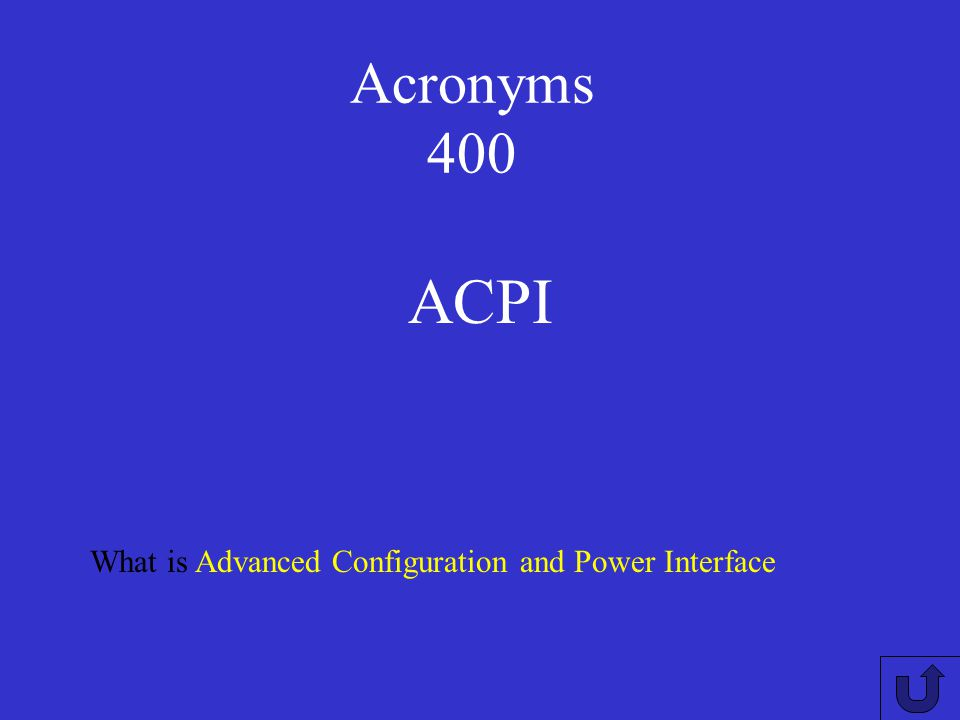 Acronyms 300 What is Central Processing Unit CPU