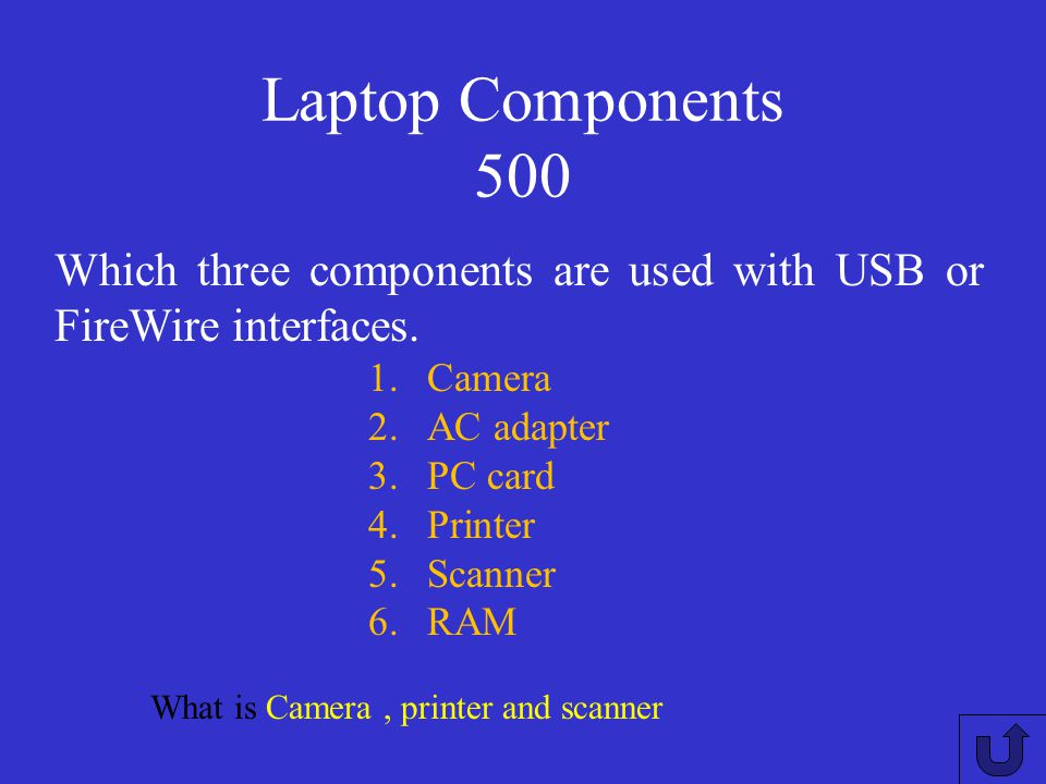 Laptop Components 400 What is Disk drive and monitor. Which two devices can be individually configured to power off after a laptop has been idle for a