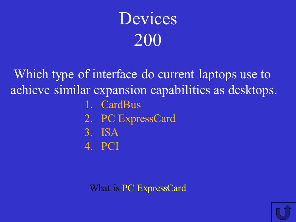 Devices 100 What is LCD monitor. Which display device integrated into laptops? 1.CRT monitor 2.Digital PCI card 3.Dot matrix panel 4.LCD monitor
