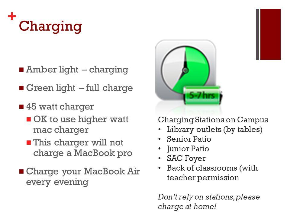 + Charging Amber light – charging Green light – full charge 45 watt charger OK to use higher watt mac charger This charger will not charge a MacBook p
