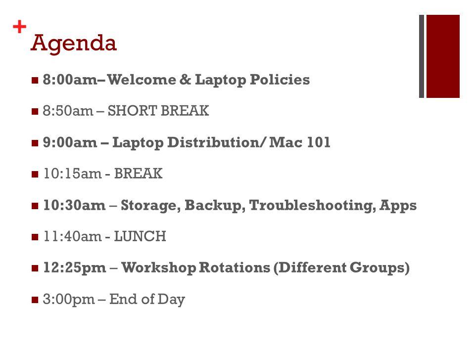 + Agenda 8:00am– Welcome & Laptop Policies 8:50am – SHORT BREAK 9:00am – Laptop Distribution/ Mac 101 10:15am - BREAK 10:30am – Storage, Backup, Troub
