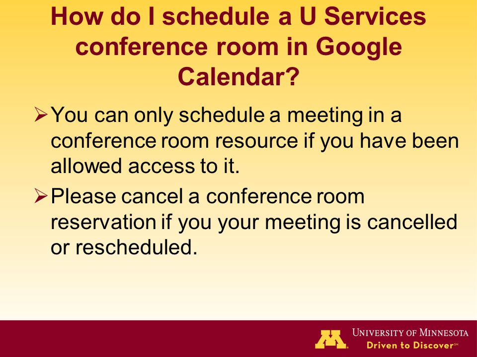 How do I schedule a U Services conference room in Google Calendar.