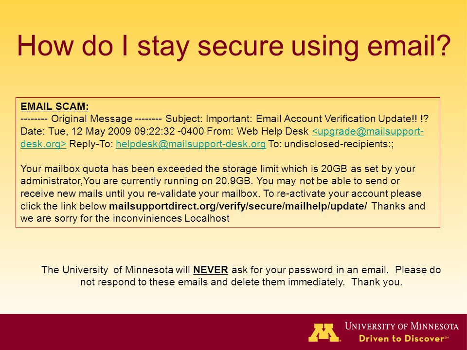 How do I stay secure using email.