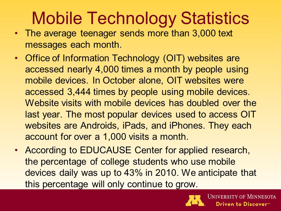 Mobile Technology Statistics The average teenager sends more than 3,000 text messages each month.