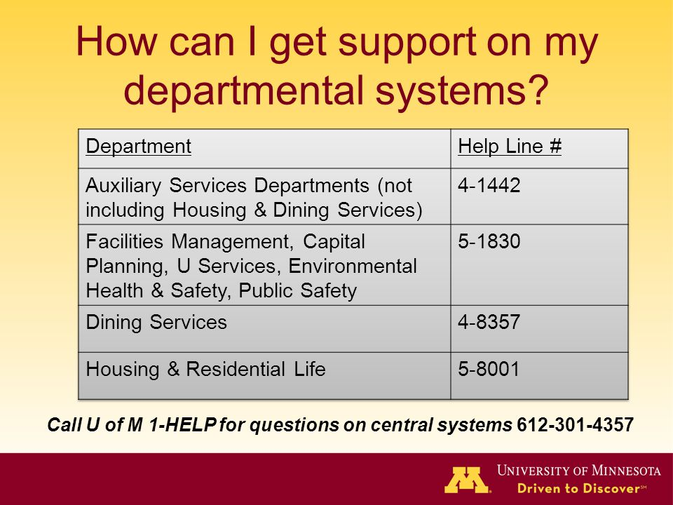 How can I get support on my departmental systems? Call U of M 1-HELP for questions on central systems 612-301-4357