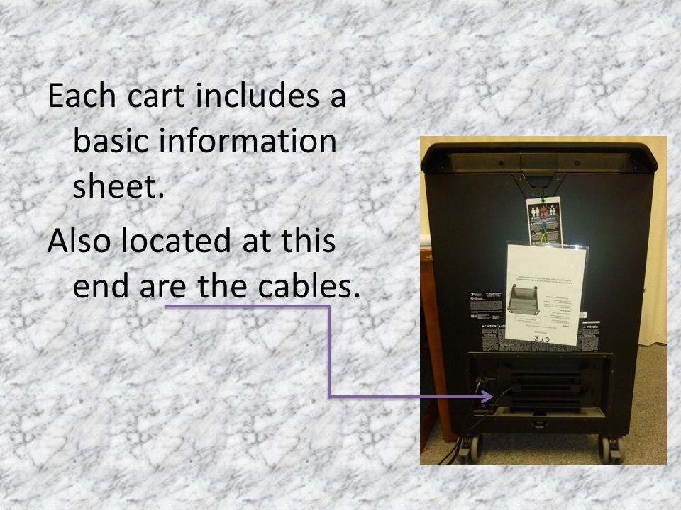 Each cart includes a basic information sheet. Also located at this end are the cables.