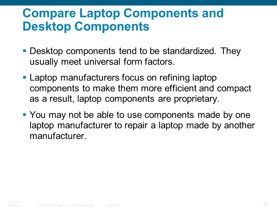 © 2006 Cisco Systems, Inc. All rights reserved.Cisco Public ITE PC v4.0 Chapter 6 22 Compare Laptop Components and Desktop Components Desktop componen