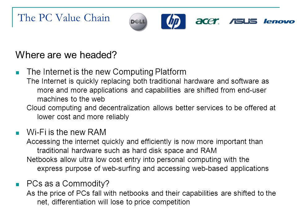 The PC Value Chain Where are we headed? The Internet is the new Computing Platform The Internet is quickly replacing both traditional hardware and sof
