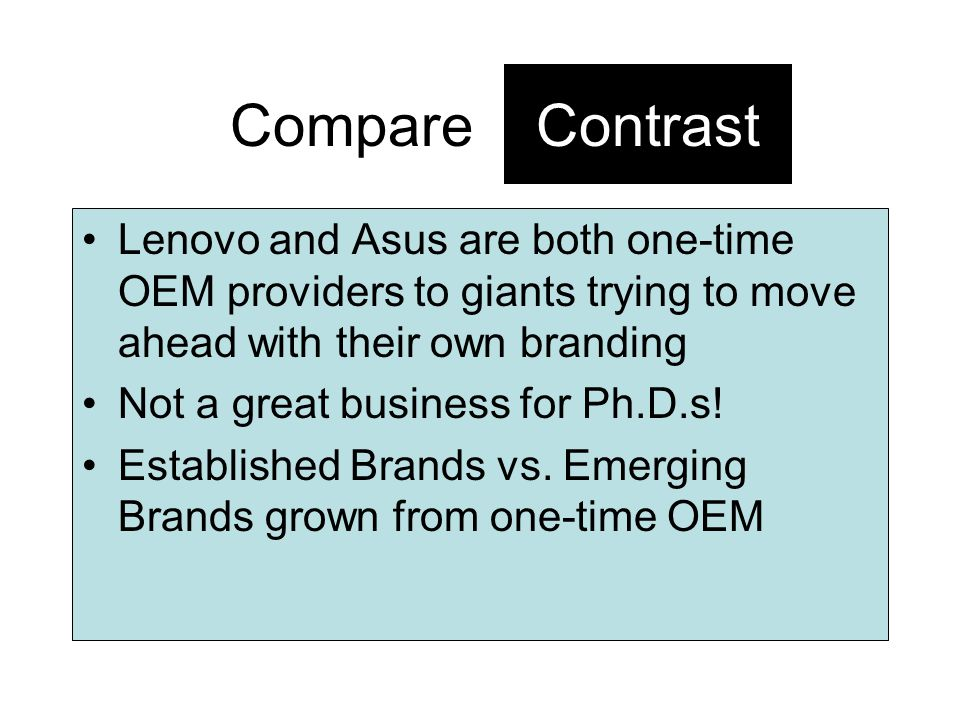 Contrast Lenovo and Asus are both one-time OEM providers to giants trying to move ahead with their own branding Not a great business for Ph.D.s! Estab