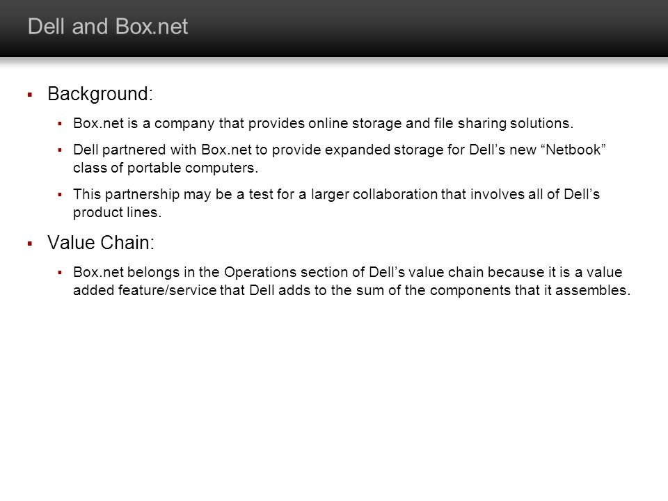 Dell and Box.net Background: Box.net is a company that provides online storage and file sharing solutions. Dell partnered with Box.net to provide expa