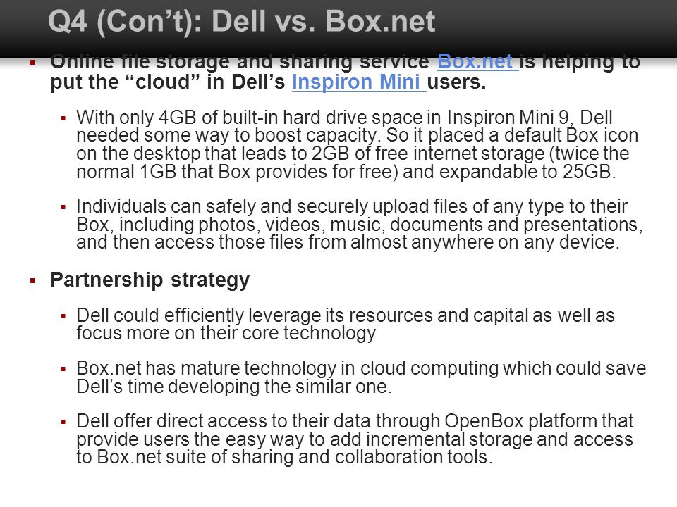 Q4 (Cont): Dell vs. Box.net Online file storage and sharing service Box.net is helping to put the cloud in Dells Inspiron Mini users.Box.net Inspiron