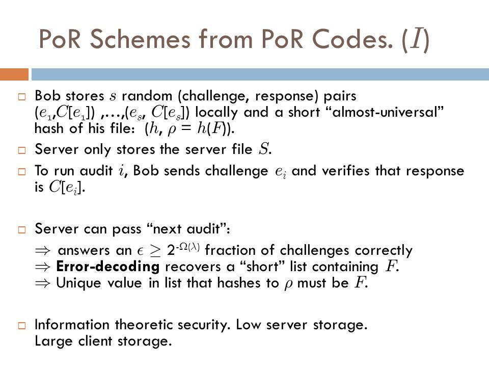 PoR Schemes from PoR Codes.