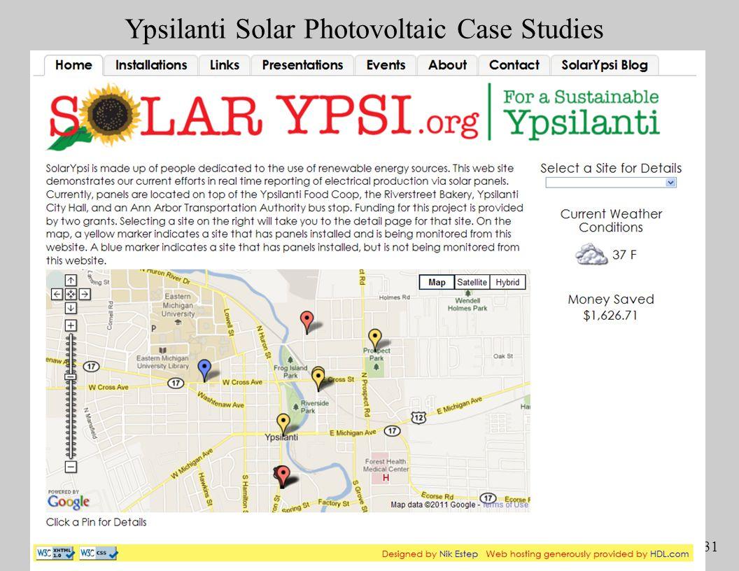 Slide 31 Ypsilanti Solar Photovoltaic Case Studies