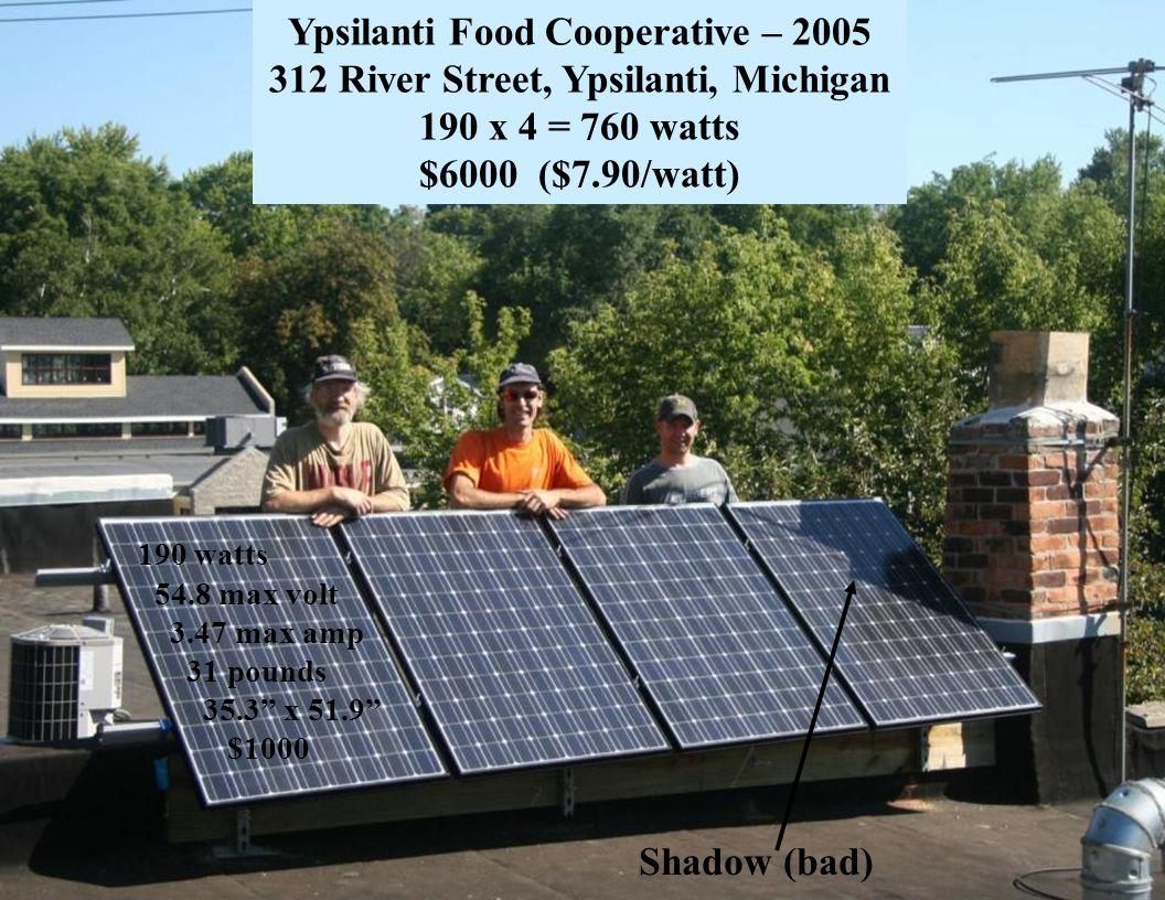 Slide 32 Shadow (bad) 190 watts 54.8 max volt 3.47 max amp 31 pounds 35.3 x 51.9 $1000 Ypsilanti Food Cooperative – 2005 312 River Street, Ypsilanti,