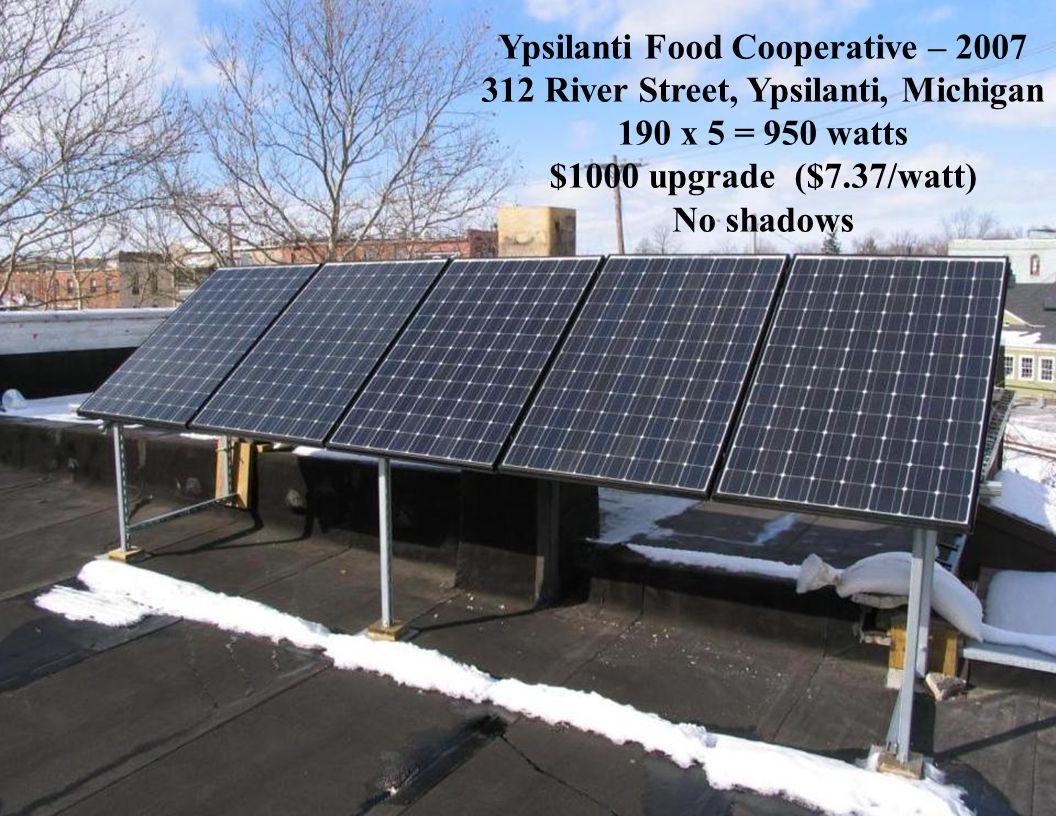 Slide 33 Ypsilanti Food Cooperative – 2007 312 River Street, Ypsilanti, Michigan 190 x 5 = 950 watts $1000 upgrade ($7.37/watt) No shadows