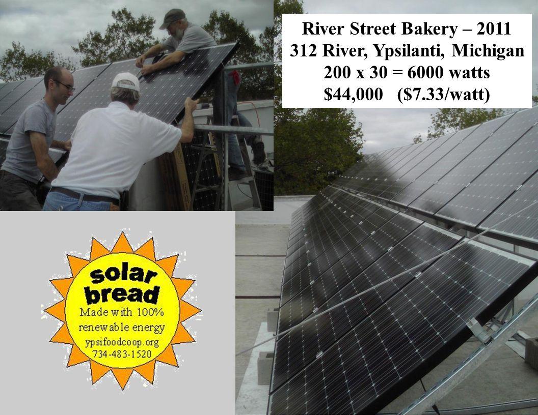 Slide 37 River Street Bakery – 2011 312 River, Ypsilanti, Michigan 200 x 30 = 6000 watts $44,000 ($7.33/watt)