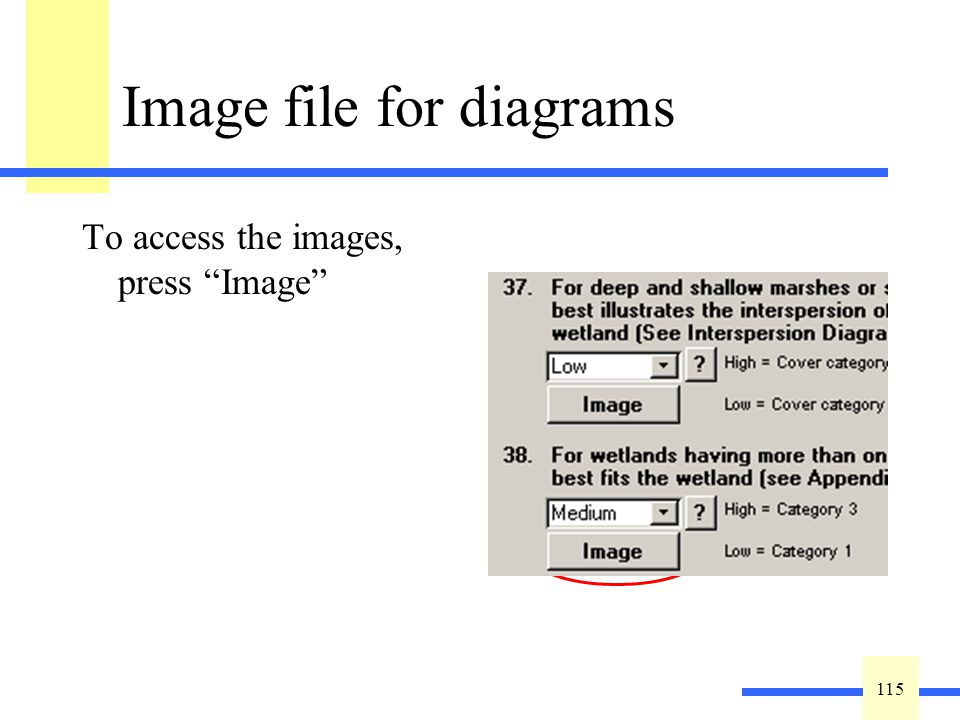 115 Image file for diagrams To access the images, press Image