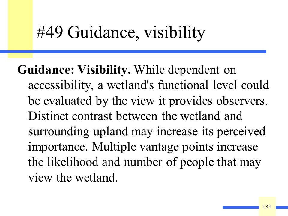 138 #49 Guidance, visibility Guidance: Visibility.