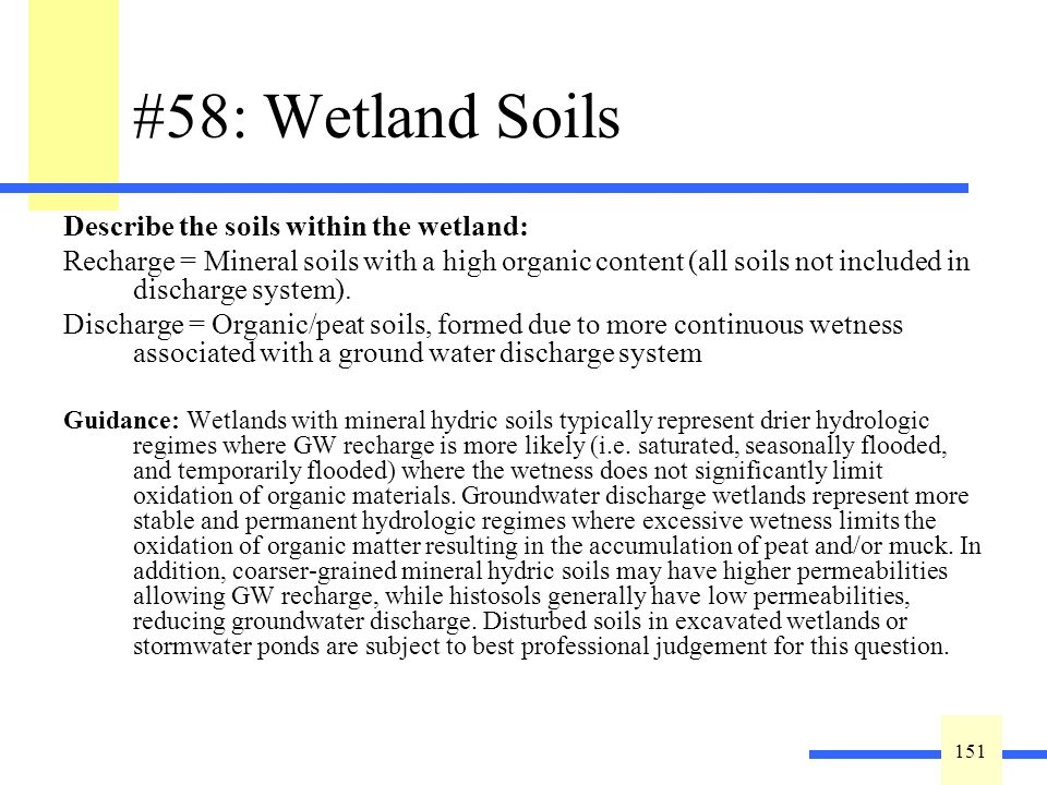 151 #58: Wetland Soils Describe the soils within the wetland: Recharge = Mineral soils with a high organic content (all soils not included in discharge system).