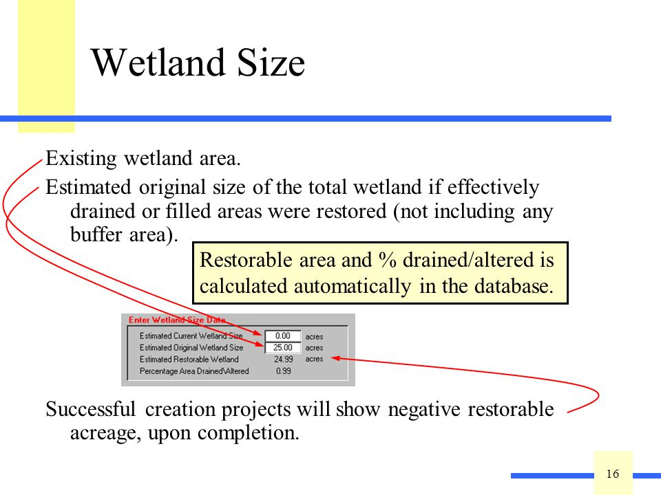 16 Wetland Size Existing wetland area. Estimated original size of the total wetland if effectively drained or filled areas were restored (not includin